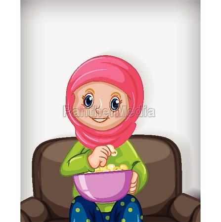 female muslim cartoon on character eating