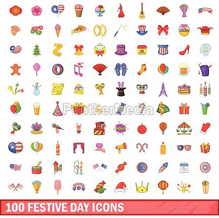 100 festive day icons set cartoon