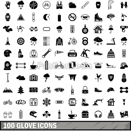 100 glove icons set simple style