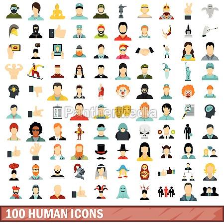 100 human icons set flat style