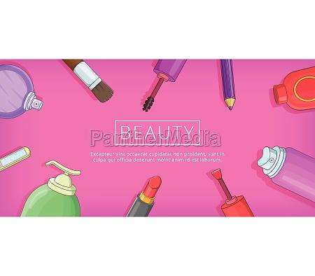 beauty tools banner horizontal cartoon style