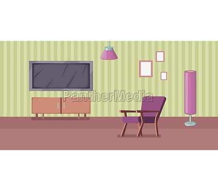 room interior banner horizontal cartoon style