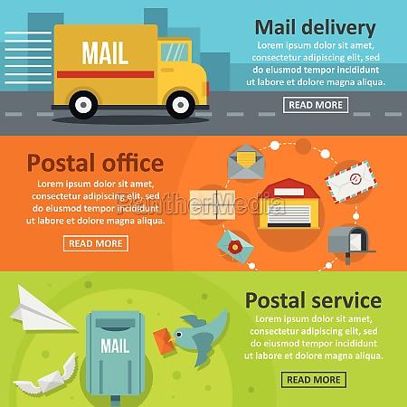 postal delivery banner horizontal set flat
