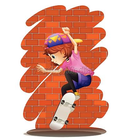 an energetic little girl skateboarding