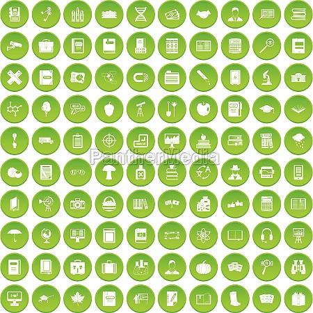 100 book icons set green circle