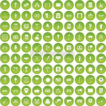 100 events icons set green circle