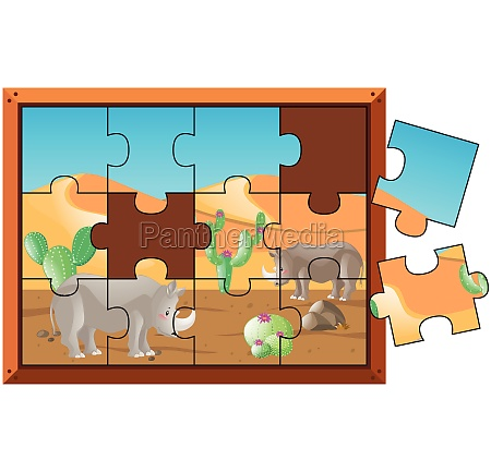 jigsaw puzzle game with rhino on