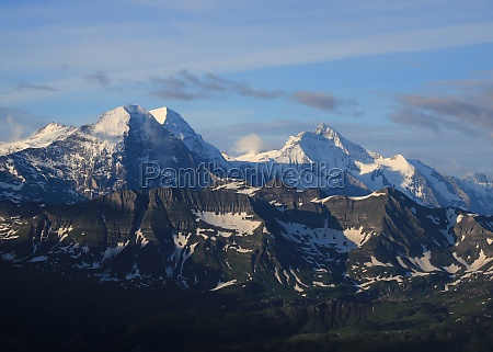 famous mountain range eiger monch and