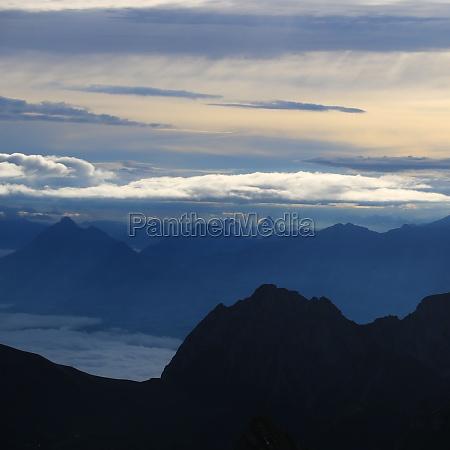 dramatic morning sky over mount stanserhorn
