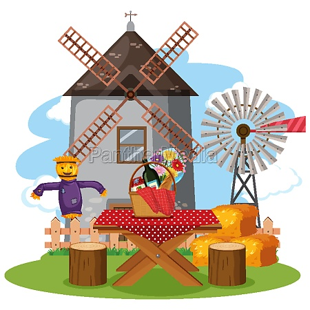 scene with windmill tower and food