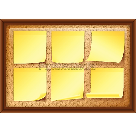 six yellow notes on board