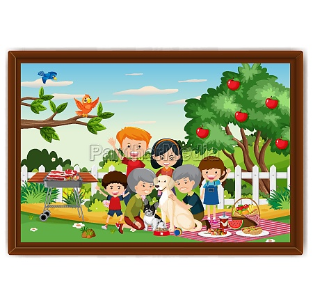 happy family picnic outdoor scene photo