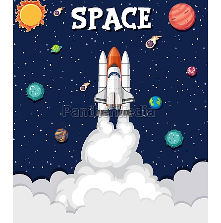 background theme of space with rocket