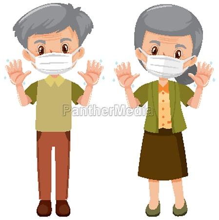 elderly people wearing mask