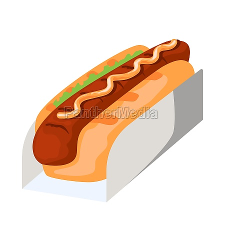 realistic sandwich with sausage and fresh