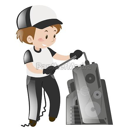 technician repairing machine alone