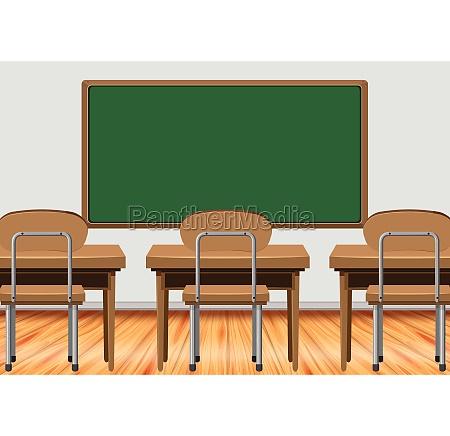 classroom scene with desks and blackboard