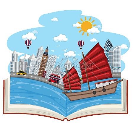 open book with london town scene