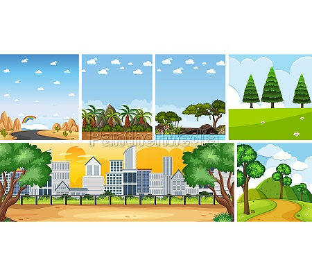 set of different nature place scene