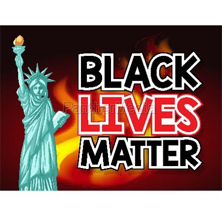black lives matter illustration with statue