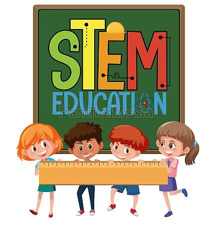 stem education logo with kids holding