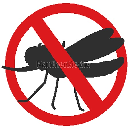 forbidden mosquito silhouette in cartoon style