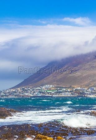 false bay rough coast landscape town