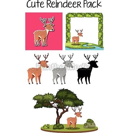 a pack of cute reindeer