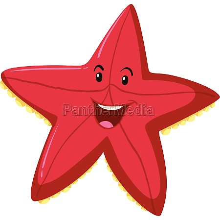 happy red starfish expression