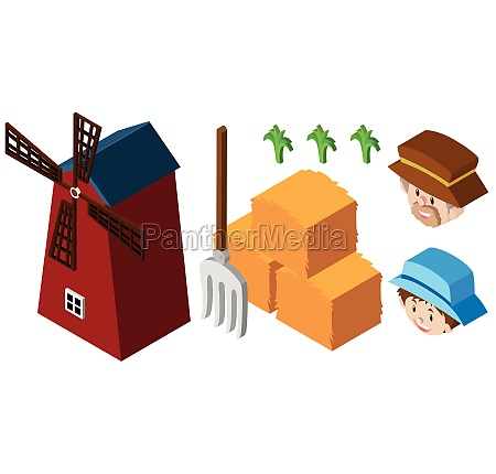 3d design for farmers and windmill