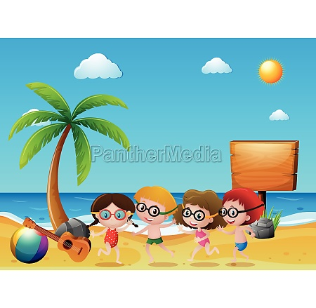 ocean scene with kids on the