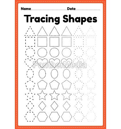 tracing shapes worksheet for kindergarten and
