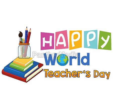 happy world teachers day logo with