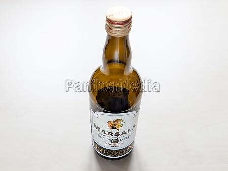 empty bottle of marsala wine from