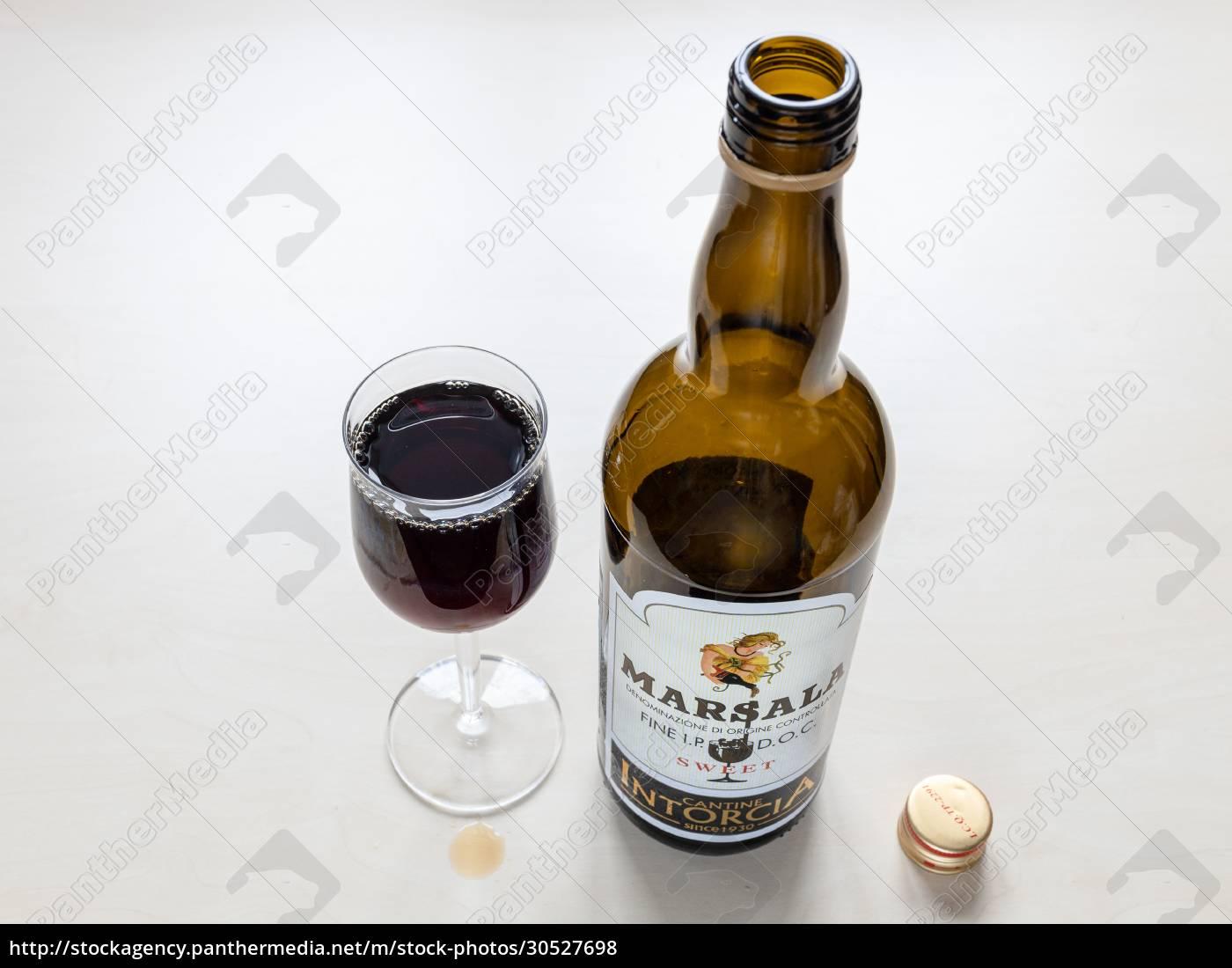 wineglass, and, empty, bottle, of, sweet - 30527698