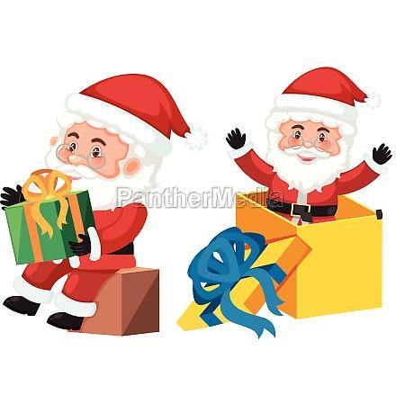 santa claus and gift box