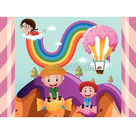 children in fantacy land with candy