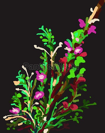 plants and flower impressionism painting on
