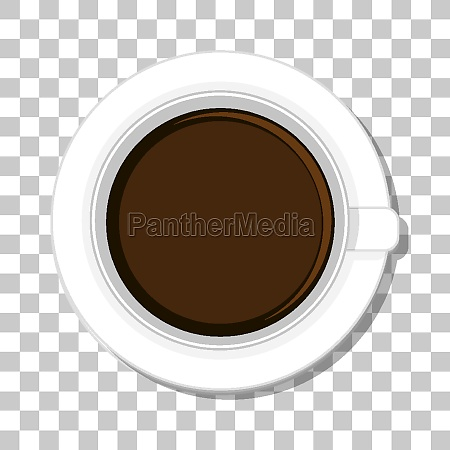 coffee cup top view isolated on