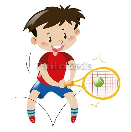 boy in red shirt playing tennis
