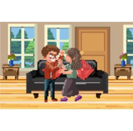 background scene husband hitting wife at