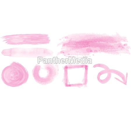 watercolor strokes in pink color