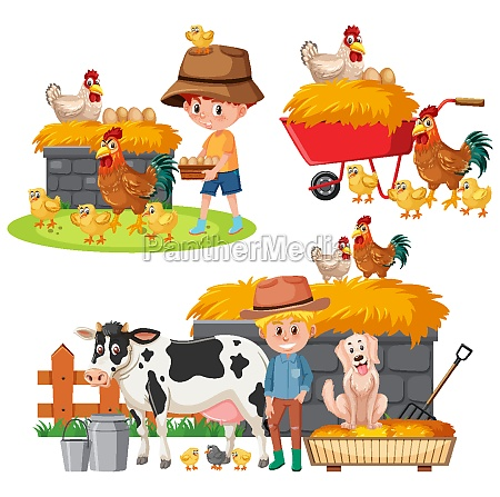 set of farmers and farm animals