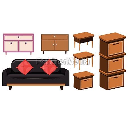 set of home furniture