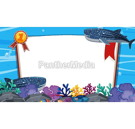 banner template with two whales swimming