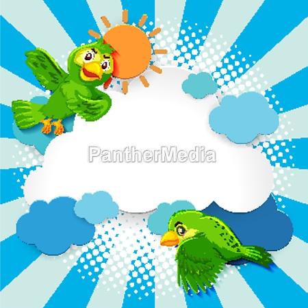 bird fancy banner comic cartoon style