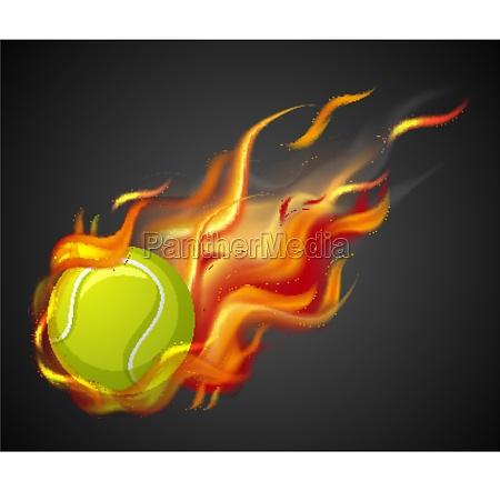 shooting tennis ball with flame on