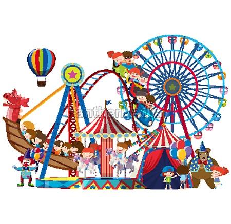 children riding on circus rides