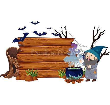 wooden board with wizard and bats