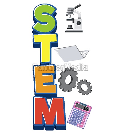stem logo with education objects isolated